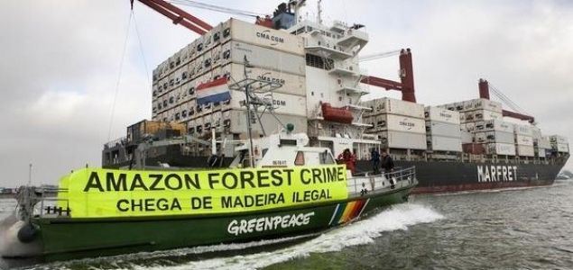 Greenpeace tracks illegal timber shipment coming from Brazil's Amazon to Europe